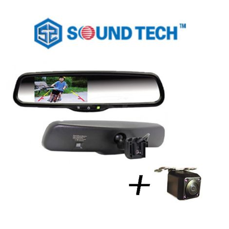 "SoundTech HM-430 + HD8715N-170, 4.3"" Rearview Mirror Monitor for Replace Original Factory Mirror +  Rearview Camera with Night Vision (Installed)"