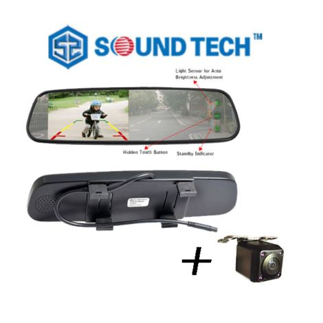 "SoundTech TM-430 TCA + HD8715N-170,  4.3"" Rearview Mirror Monitor + Rear Camera with Night Vision (Installed)"